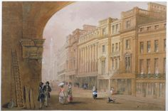 View of Grey Street, Newcastle upon Tyne by John Dobson, c 1935. In the collection of the Laing Art Gallery, Newcastle upon Tyne.