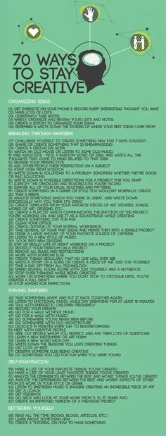70 ways to stay creative. Self help Creative Thinking, Creative Writing, Writing Tips, Writing Prompts, How To Be Creative, Creative Art, Creative Ideas, Creative Design, Self Development
