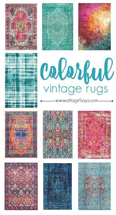 Add a pop of statement color to your home with one of these gorgeous bold vintage area rugs. Theyre beautifully priced too. - Area Rugs - Ideas of Area Rugs Shabby Chic Vintage, Vintage Stil, Vintage Home Decor, Vintage Rugs, Room Rugs, Rugs In Living Room, Dining Rooms, Aqua Rug, Blue Rugs