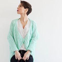 Mint kimono jacket crochet (PDF pattern for download)