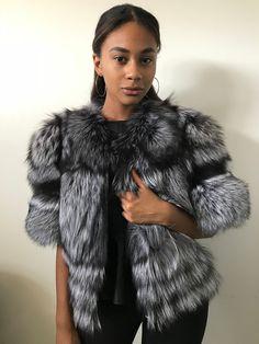 Bolero jacket coat fur silver fox and genuine leather   Etsy Coats For Women, Jackets For Women, Clothes For Women, Fur Fashion, High Fashion, Fashion Details, Fashion Brands, Winter Fashion, Faux Fur Bolero
