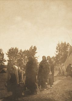 Departure from Preparation Lodge - Cheyenne (The North American Indian, v. VI. Cambridge, MA: The University Press, 1911)   by Edward Sheriff Curtis from USC Digital Library