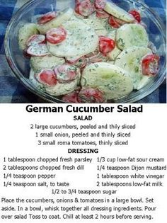 German Cucumber Salad- excellent for a pool party. I had my own dill and kicked it up a notch, plus I used apple cider vinegar instead. Delicious summer salad I'll be making again. Cucumber Recipes, Vegetable Recipes, Salad Recipes, Vegetable Salads, Juicer Recipes, Healthy Snacks, Healthy Eating, Healthy Recipes, Fast Recipes
