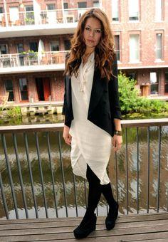 White dress ~ Black jacket