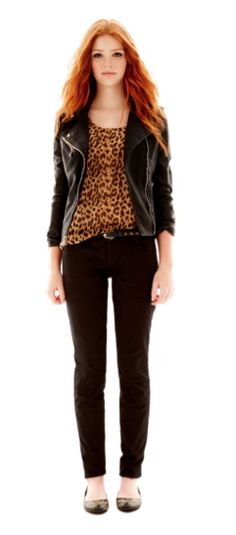trend: animal print - Levis black faux leather jacket, ijeans by Buffalo leopard printed top