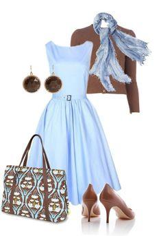 Light blue dress camel cardigan