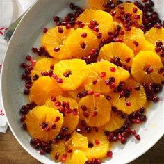 Orange Pomegranate Salad with Honey Recipe -I discovered this fragrant salad in a cooking class. If you can, try to find orange flower water (also called orange blossom water), which perks up the orange segments. But orange juice adds a nice zip, too! —Carol Richardson Marty, Lynwood, WA