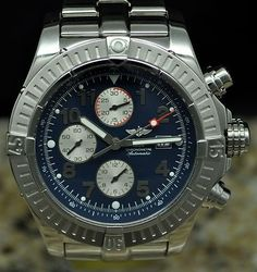 BREITLING Aeromarine SUPER AVENGER Automatic Stainless Watch + Box - A13370