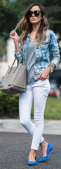 Paige Denim 'Verdugo' Ultra Skinny Jeans   Topshop Short Sleeve V-Neck Tee   Sam Edelman Rae Flats   Tory Burch Robinson Multi Tote   Target Acid Wash Jean Jacket