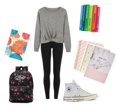 """""""🎒 (day 25)"""" by arilover123 ❤ liked on Polyvore featuring Polo Ralph Lauren, MANGO, Converse, Vans, ban.do, Sugar Paper and Boohoo"""