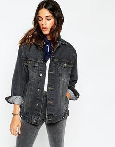 Image 1 ofASOS Denim Girlfriend Jacket in Black