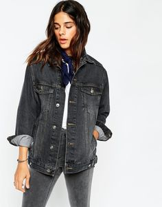 Image 1 of ASOS Denim Girlfriend Jacket in Black