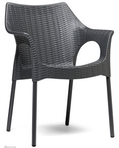The Olimpia Armchair is imported directly from SCAB Italy. Made from a polypropylene main body with woven pattern surface and supported by 25 mm anodised aluminium legs. The curving shapes and the original design make this product suitable for any environment. Stackable and UV treated for full outdoor use.