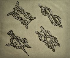Sailor Knot Tattoo by Guilherme Hass, via Behance Traditional Tattoo Rope, Sailing Tattoo, Rope Tattoo, Rope Drawing, Sailor Jerry Tattoos, Knuckle Tattoos, Geniale Tattoos, Tattoo Flash Art, Tattoo Blog
