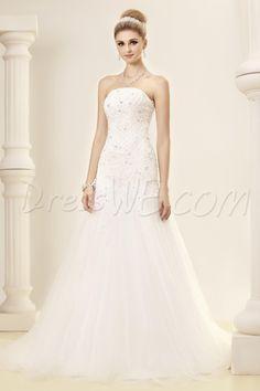 Dresswe.com SUPPLIES ELegant Slight Mermaid/Trumpet Strapless Court Train Dasha's Wedding Dress Trumpet/Mermaid Wedding Dresses
