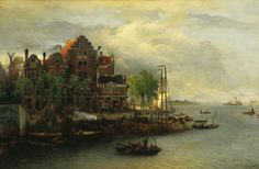 The Athenaeum - Evening Mood in a Dutch Harbour (Andreas Achenbach - )