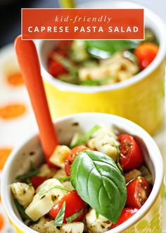 Kid-Friendly Caprese Pasta Salad via @Sophistishe