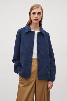COS image 5 of Pleated jacket with button back in Grey Blue Cos Jackets, Denim Button Up, Button Up Shirts, Coats For Women, Clothes For Women, Rain Jacket, Cashmere, Windbreaker, Raincoat