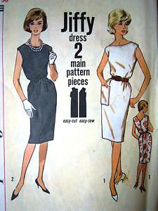 Easy to make Jiffy sewing pattern  Vintage Simplicity shift dress   Circa 1960s  Bust 36  Free domestic shipping