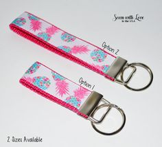 Lilly Pulitzer Inspired Pineapple Key Chain | Key Fob | 2 Sizes | Gift Idea…