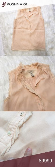 """J. Crew Sleeveless Silk Blouse Pretty light pink/peach color blouse. Sleeveless with buttons up to the neckline. Raw edge hems that add some interest to it. Minor pulls on the left hip and on the right back shoulder. Fully lined with a mandarin collar. Laying flat, it measures approximately: 18"""" bust, 24.5"""" length. J. Crew Tops Blouses"""