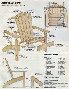 #944 Adirondack Chair and Ottoman Plans - Outdoor Furniture Plans