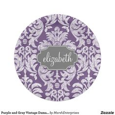 Purple and Gray Vintage Damask Pattern Monogram Paper Plate  sc 1 st  Pinterest & Simply Strawberry paper plates