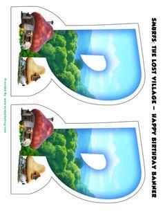 Free Smurfs: The Lost Village Printable Happy Birthday Banner - www.MrsKathyKing.com