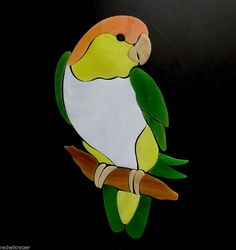 WHITE BELLIED CAIQUE PARROT Precut Stained Glass Kit. Beautiful addition for your mosaic project.  Many original designs selling on ebay.