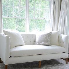 White and Grey Bedroom with White Tufted Sofa, Transitional, Bedroom