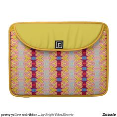 pretty yellow red ribbon pattern MacBook pro sleeve