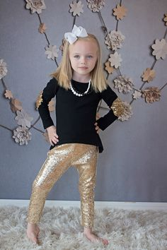 Gold Baby Leggings Gold Sparkle Pants Gold Girls By
