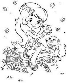 Strawberry Shortcake Loving Animals coloring picture for kids Cute Coloring Pages, Cartoon Coloring Pages, Animal Coloring Pages, Adult Coloring Pages, Coloring Books, Strawberry Shortcake Cartoon, Strawberry Shortcake Coloring Pages, Coloring Pictures For Kids, Coloring Pages For Kids