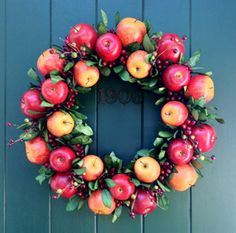 Williamsburg Style Apple Wreath Pine Wreath Base for Fresh Fruit Decoration or O. Wreath Crafts, Diy Wreath, Decor Crafts, Door Wreaths, Apple Decorations, Christmas Decorations, House Decorations, Holiday Decorating, Red Home Decor