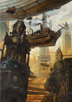 Steampunk Tendencies | Didier Graffet   #Steampunk #Airship #Painting #Paris