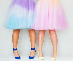 DIY ombre tulle skirts two tone blue purple orange pink-6