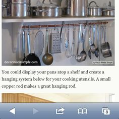 Small kitchen ideas - Hanging rod for cooking utensils... There is room for some kind of shelving on the wall by the sink.