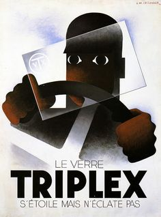 A M Cassandre triplex glasse vintage French ad poster hot collector's Art Deco Posters, Vintage Posters, Poster Prints, Art Deco Design, Artwork Design, Negative And Positive Space, Windshield Glass, Typographic Poster, Branding