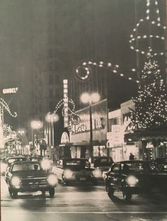 View looking east down Wisconsin Avenue downtown at night around Christmas Feeling, Christmas Makes, Modern Christmas, Retro Christmas, Christmas And New Year, All Things Christmas, Christmas Holidays, Vintage Christmas Photos, Vintage Holiday