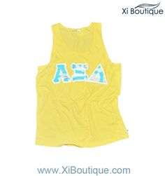 The perfect summer style! Xi Boutique Yellow Tank with Aqua Floral Sewn-On Letters