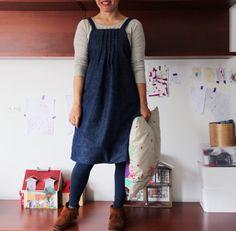 Denim women's pinafore dress japanese style. Pintucks. Sizes S, M, L. Dark classic denim. on Etsy, $90.74