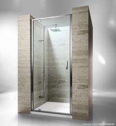Framed shower enclosure with pivoting door. Reversible and extensible 6 cm in recess. Junior GA is incredibly versatile and suitable to solve multiple installation situations. Shower enclosures Junior by @vismaravetro   GA