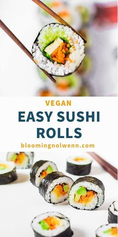 Easy Vegan Sushi Rolls for lunch or dinner! These vegan sushi rolls are healthy, easy to make and so delicious. You can make them for a party, a brunch or for work. They are perfect for meal prep too! #vegansushi #sushirolls #veganrecipesdinner