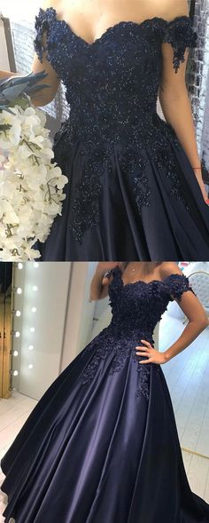 Navy Blue Lace Flower Off The Shoulder Satin Prom Dresses Ball Gowns 2018 Quinceanera Dress