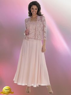 mother+of+bride+classic+dress+plus+size | ... Miller 96540 Chiffon Dress with Lace Jacket in Blush (Plus Sizes