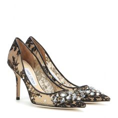 Jimmy Choo - Lyzo lace embellished pumps - Jimmy Choo gives basic pumps a dazzling update with these 'Lyzo' embellished beauties. Covered in delicate lace, they're finished with a sparkling array of crystals. We love them with playful evening looks. seen @ www.mytheresa.com