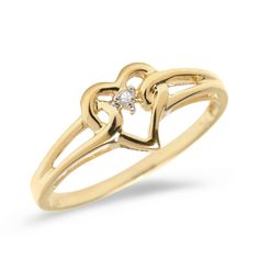 10K Yellow Gold Diamond Heart Ring (Size 8). Beautiful complimentary gift box included with this purchase. Setting made entirely with genuine solid 10 karat gold. 30 Day Satisfaction Guarantee.