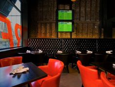 A red hot interior design, Red Card Sports Bar + Eatery, Vancouver, BC