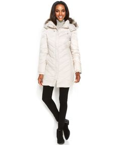 Kenneth Cole Reaction Hooded Faux-Fur-Trim Quilted Down Puffer Coat