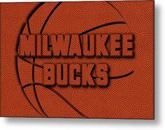 Bucks Metal Print featuring the photograph Milwaukee Bucks Leather Art by Joe Hamilton